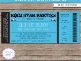 Party Invitation Ticket Template Rockstar Party Ticket Invitation Template Blue Birthday
