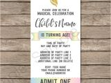 Party Invitation Ticket Template Unicorn Party Ticket Invitations Template Unicorn theme