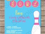 Party Invite Template Bowling Bowling Party Invitation Template Pink Birthday Party
