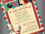 Party Invite Template Bowling Items Similar to Bowling Party Customized Printable