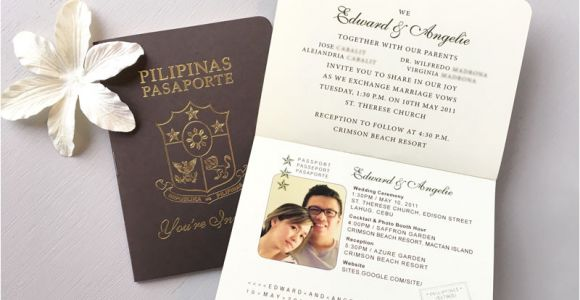 Passport Wedding Invitation Template Philippines Philippines Wedding Passport Invitation Custom Paper Works
