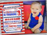 Patriotic First Birthday Invitations 4th Of July Invitation First Birthday Party Red White and