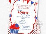 Patriotic First Birthday Invitations Cupcake Birthday Invitation Patriotic Invitation Cupcake