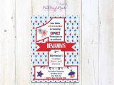 Patriotic First Birthday Invitations Printable July 4th First Birthday Invitation Red White