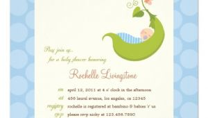 "Pea In the Pod Baby Shower Invitations Pea In A Pod Boy Baby Shower Invitation 5 25"" Square"