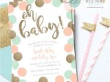Peach and Gold Baby Shower Invitations Baby Shower Invitation Peach Mint and Gold Glitter