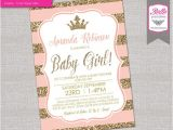 Peach and Gold Baby Shower Invitations Baby Shower Invitation Princess Crown for Girl Peach