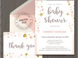 Peach and Gold Baby Shower Invitations Peach and Gold Baby Shower Invitation Pink and Gold Polka