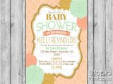 Peach and Gold Baby Shower Invitations Peach Mint Gold Flowers Baby Shower Invitation Utopia
