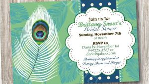 Peacock themed Bridal Shower Invitations Lovely Peacock Feather theme Bridal Shower by socalcrafty