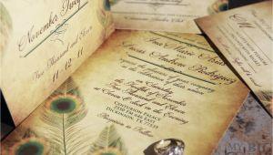 Peacock Wedding Invitation Sets Vintage Peacock Wedding Invitation Set Fancy Feathers Wedding