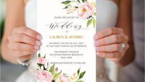 Peony Wedding Invitation Template Peony Wedding Invitation Template Printable Pink Floral