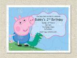 Peppa Pig George Party Invitations Personalised George and Dinosaur Peppa Pig Party Birthday
