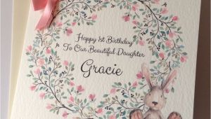 Personalised 1st Birthday Cards for Granddaughter Personalised Watercolour Bunny 1st Birthday Card Daughter