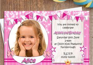 Personalised 1st Birthday Invitations Girl Uk 10 Personalised Girls Birthday Party Photo Invitations