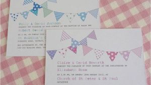 Personalised Baptism Invitations Uk Bunting Personalised Christening Invitations by Little