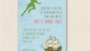 Peter Pan Birthday Invitation Wording Peter Pan Invitations Printable or Printed by