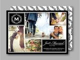 Photo Collage Wedding Invitations Monogram Collage Just Married Wedding Announcement