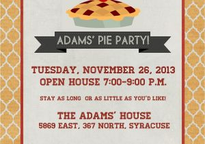 Pie Party Invitations Announcements to Ponder Pie Party Invitation