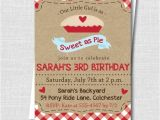 Pie Party Invitations Sweet as Pie Birthday Invitation Classic by Katarinaspaperie