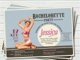 Pin Up Girl Bachelorette Party Invitations Bachelorette Party Invitation Vintage Pin Up Girl Retro Blue