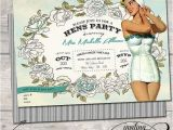Pin Up Girl Bachelorette Party Invitations Nautical Floral Vintage Classy Pin Up Girl Invitation