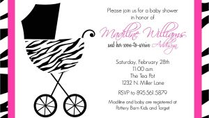 Pink and Black Zebra Baby Shower Invitations Pink and Black Zebra Baby Shower Invitations
