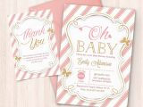 Pink and Gold Baby Shower Invitations Free Pink and Gold Baby Shower Invitation Free Thank You Card