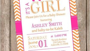 Pink and orange Baby Shower Invitations Hot Pink and orange Elephant Baby Shower Invitation Hot