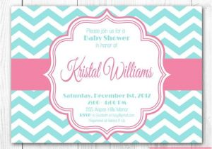 Pink and Turquoise Baby Shower Invitations Baby Shower Invitation Pink & Aqua Chevron Diy