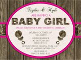 Pink Camouflage Baby Shower Invitations Pink Wood & Hunting Camo Baby Shower Invitation Digital
