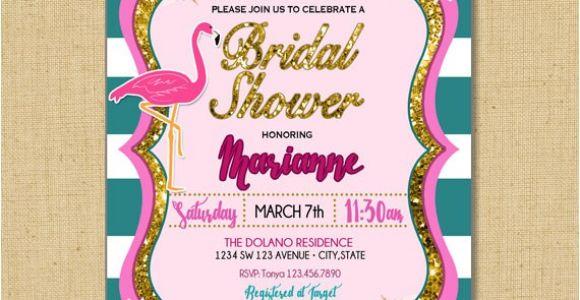 Pink Flamingo Bridal Shower Invitations Flamingo Bridal Shower Pink Flamingo and Flowers Bridal
