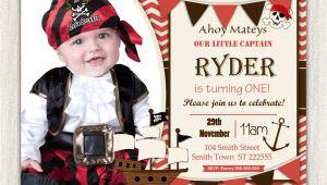 Pirate 1st Birthday Invitations Boys Pirate theme 1st Birthday Invitation Printable Download