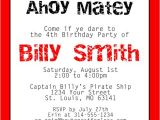 Pirate themed Birthday Party Invitations Pirate Birthday Invitations Template