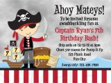 Pirate themed Birthday Party Invitations Pirate Birthday Party Invitation Wording