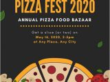 Pizza Party Invitation Template Yellow and Black Illustrated Pizza Party Invitation