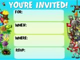 Plants Vs Zombies Party Invitation Template Plants Vs Zombies Free Printable Invitations Free Printable