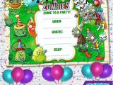 Plants Vs Zombies Party Invitation Template Plants Vs Zombies Invitationbirthday Party Kids Party