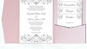 Pocketfold Wedding Invitation Template Pocket Fold Wedding Invitation Set Diy Silver Gray