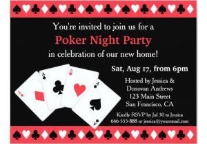Poker Party Invitation Template Free Poker Game Night Housewarming Party Invitations Zazzle Com