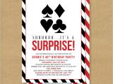 Poker Party Invitation Template Free Poker theme Surprise Party Printable Birthday Invitation