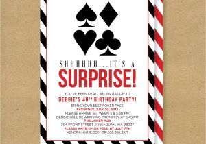 Poker Party Invitation Template Free Poker theme Surprise Party Printable Birthday Invitation