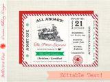 Polar Express Party Invitation Template Free Polar Express Invitation Christmas Party Invitation Polar