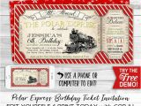 Polar Express Party Invitation Template Free Polar Express Invitation Red Instant Download