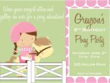 Pony Party Invitation Wording Birthday Invitations Katiebellepaperie Artfire Shop
