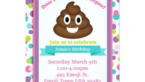 Poop Emoji Birthday Party Invitations Poop Emoji Girl Birthday Invitation