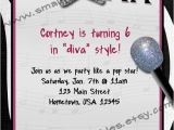 Pop Star Party Invitations Girls Personalized Pop Star Diva Zebra Karaoke theme Birthday