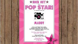 Pop Star Party Invitations Pop Star Birthday Invitation Rock Out Karaoke Band