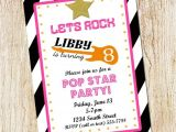 Pop Star Party Invitations Pop Star Birthday Party Invitation Girl Birthday Invitation