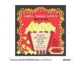Popcorn Birthday Party Invitations Popcorn and A Movie Birthday Party Invitation